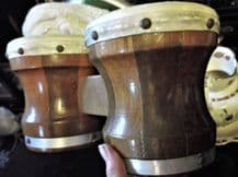 TWO TONE WOODEN SMALL DRUMS LOVELY COLOURS VARNISH AND GRAIN GREAT CONDITION
