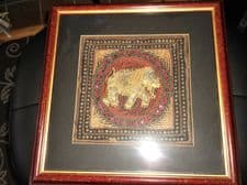 UNUSUAL FRAMED METALLIC INDIAN EMBROIDERY PADDED ELEPHANT ARQUATI BREVET FRAME