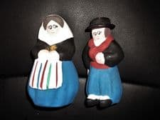 UNUSUAL HAND MADE POTTERY HANDPAINTED MINI MAN & WOMAN IN MALLORCA SPANISH DRESS