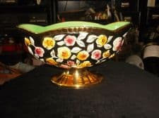 UNUSUAL HAND PAINTED MAJOLICA STRONG GOLD FOOTED POT DISH RAISED TEXTURE 4492 5