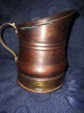 UNUSUAL SHAPE ANODISED COPPER ? WITH BRASS RING & HANDLE JUG SLANTED TOP 7.25""
