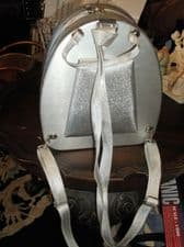 UNUSUAL SILVER METAL FRAME RIGID BACKPACK SMALL SIZE SPARKLE SILVER STRAPS