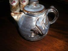 UNUSUAL SMALL ART POTTERY TEAPOT BLUE GREY DRIP GLAZE RIBBED + APPLIED LILIES
