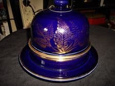 UNUSUAL SMALL SIZE DEEP COBALT BLUE GILDED POTTERY CHEESE PLATTER & DOME