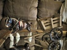 """VINTAGE 8.5"""" CHINA SHIRE HORSE WITH GOOD SIZE WOODEN CART TURNING WHEELS"""