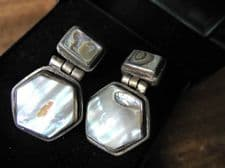 VINTAGE 925 SILVER EARRINGS HEXAGONAL SUPERB MOTHER OF PEARL INLAY CENTRE BOXED