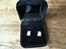 VINTAGE 925 SILVER EARRINGS OBLONG SUPERB MOTHER OF PEARL INLAY CENTRE BOXED