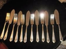 VINTAGE A1 SILVER PLATED FISH CUTLERY 6 PLC SETTING HEAVY QUALITY ORNATE HANDLES