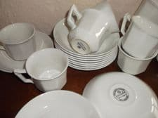 VINTAGE ADAMS RIBBED EMPRESS 10 DECO STYLE CUPS 11 SAUCERS (3 JOHNSON SAUCERS)