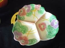 VINTAGE ART DECO POTTERY GLAZED AVON WARE 3 SECTION PLATTER PINK LILAC PANSIES