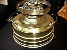 VINTAGE BRASS FOOD WARMER WITH HANDLES FILLER CAP & GAUGE LEVEL STEPPED BODY