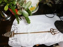 """VINTAGE BRASS TOASTING FORK WITH DETAILED GALLEON HANDLE CURVED TONGS 18.25"""""""