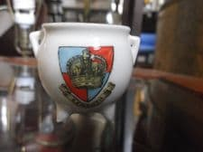 VINTAGE COLLECTABLE CZECHOSLOVAKIA CRESTED WARE GILDED CAULDRON EXMOUTH
