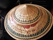 "VINTAGE COOLIE HAND MADE CONICAL BAMBOO STRAW HAT GREAT COLOURS 15.75"" DIA"