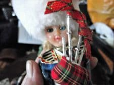 VINTAGE COSTUME DOLL OPEN CLOSE EYES TARTAN PIPER & BAGPIPES WHITE BUSBY TLC