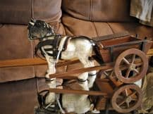"""VINTAGE DAPPLE GREY 7"""" HIGH CHINA SHIRE HORSE WITH WOODEN CART TURNING WHEELS"""