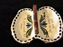 VINTAGE DEVON TORQUAY MOTTO WARE SCANDY DOUBLE CONSERVE DISH WITH HANDLE BE AISY