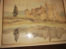 """VINTAGE FRAMED GLAZED WATERCOLOUR RURAL CHURCH REFLECTED IN LAKE 15"""" X 11"""""""