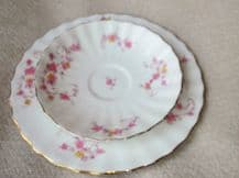 VINTAGE GILDED SIDE PLATE & SAUCER BISTO BISHOP STONIER PINK FLOWERS 9595