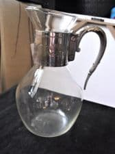 VINTAGE GLASS WATER WINE JUG CHASED SILVER PLATED COLLAR & BIRD HEAD HANDLE
