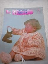 VINTAGE ORIGINAL KNITTING PATTERN KING COLE 2077 BABY DK DRESS & BOOTEES 16 - 22