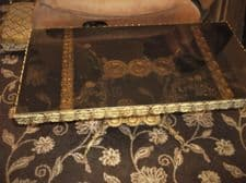 """VINTAGE ORNATE CAST GILT METAL COFFEE TABLE + LIFTOUT SMOKED GLASS TOP 33"""" X 17"""""""