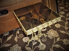 """VINTAGE ORNATE CAST GILT METAL TABLE WITH LIFT OUT SMOKED GLASS TOP 13.5"""" SQUARE"""