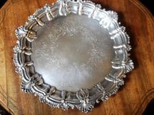 """VINTAGE ORNATE CHASED A1 SILVER ON COPPER TRAY ON 3 SCROLL FEET 11"""" RBC"""