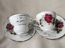 VINTAGE PAIR CUPS & SAUCERS SILVER WEDDING ANNIVERSARY DUCHESS BONE CHINA