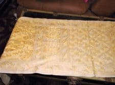 """VINTAGE PALE LEMON COTTON TABLE RUNNER WITH YELLOW GOLD EMBROIDERY 64"""" X 17.5"""""""