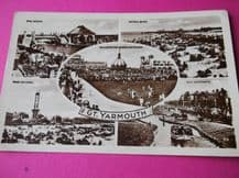 VINTAGE POSTCARD GREAT YARMOUTH MULTI VIEWS POSTED & 2d STAMP