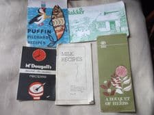 VINTAGE RECIPE BOOKLETS MCDOUGALL'S PUFFIN PILCHARDS PANNETT HERBS MILK COUNCIL