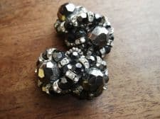 VINTAGE RETRO CLIP ON EARRINGS GUNMETAL LUSTRE BEADS WITH SPARKLY IN TWIST