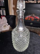 """VINTAGE RETRO GLASS DECANTER WITH STOPPER STAR BASE HOBNAIL PRESSED GLASS 10.5"""""""