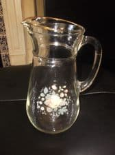 """VINTAGE RETRO LARGE GILDED GLASS JUG WITH APPLE & BERRIES TRANSFER 8.5"""" HIGH"""