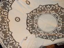 "VINTAGE ROUND TABLECLOTH PRETTY LACY LOOK DESIGN 60"" DIAMETER CREAM & BEIGE"