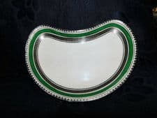 VINTAGE SILVERED GREEN CRESCENT DISH BOOTHS A4831 PLUS HARRODS BACKSTAMP