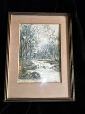 VINTAGE SMALL GILT KEMP SW1 FRAMED GLAZED ORIGINAL WATERCOLOUR SIGNED S.M