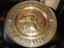 """VINTAGE SOLID BRASS WALL DISH DEEP 3D GALLEON & LIONS & ANCHORS & CRESTS 17.5"""""""