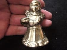 "VINTAGE SOLID CAST BRASS SMALL CANDLE SNUFFER IN SHAPE OF ANGEL 2.5"" HIGH"