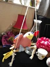VINTAGE STUFFED BODY COLOURFUL COTTON PARROT ON PERCH WITH HANGING STRING