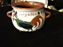 VINTAGE TORQUAY MOTTO WARE 2 HANDLE CAULDRON POT COCKEREL PAIGNTON LIFE WEALTH