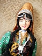 """VINTAGE UNUSUAL COSTUME DOLL INDIAN LADY JOINT HEAD ARMS 15"""" HANDPAINTED"""