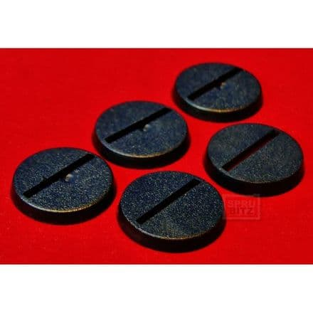 5x 25mm Games Workshop Slotta Slotted Black Bases