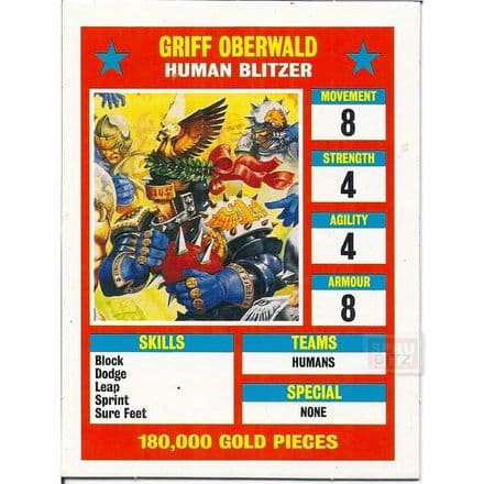 Blood Bowl Griff Oberwald Human Blitzer Star Player Reference Card