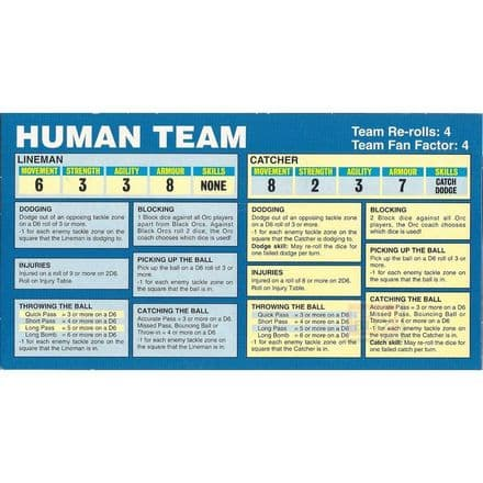 Blood Bowl Human Team Reference Card