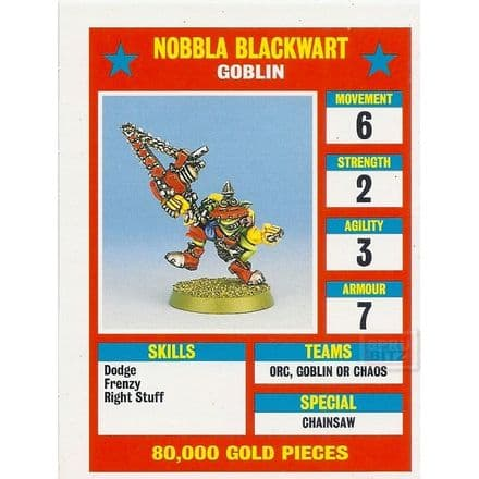 Blood Bowl Nobbla Blackwart Goblin Star Player Reference Card