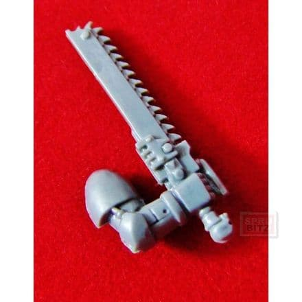 Space Marine right arm Chainsword (skull pommel)