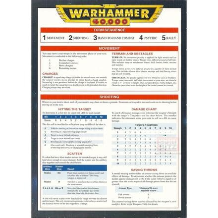 Turn Sequence Reference Card from Warhammer 40,000 2nd Edition