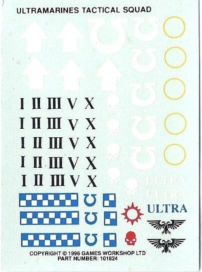 Ultramarines Tactical Squad Transfer Sheet (1996)